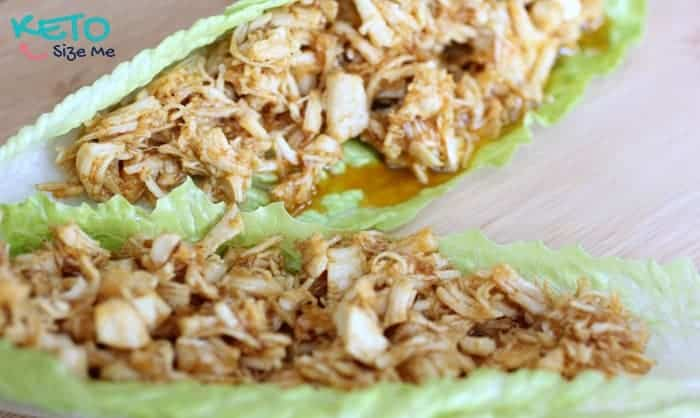 Keto Pulled Chicken Wraps- SO delicious and SO southern! Low carb high fat, keto, atkins friendly recipes. pulled chicken, low carb bbq sauce, bbq without a bun. | ketosizeme.com