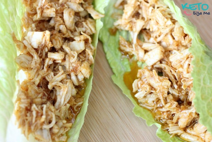 Keto Pulled Chicken Wraps- Quick lunch option that tastes SO good! Low carb high fat, keto, atkins friendly recipes. pulled chicken, low carb bbq sauce, bbq without a bun.   ketosizeme.com