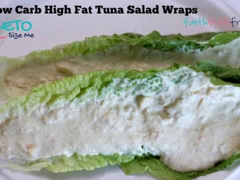 Keto Tuna Salad Wrap in a romaine lettuce leaf