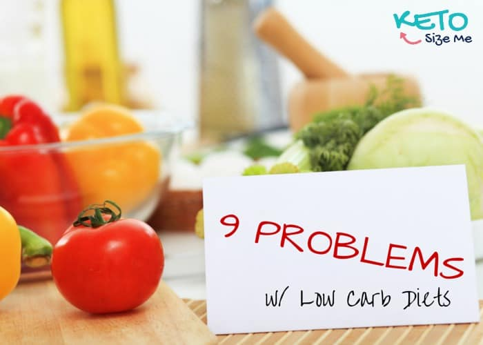 vegetables and a place marker with text 9 problems with low carb diets