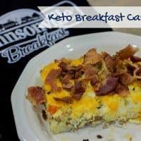 keto breakfast casserole on a plate with Johnsonville Oven Mitt