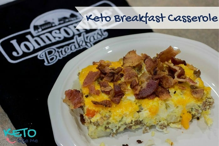 keto breakfast casserole on a plate with Johnsonville Oven Mitt