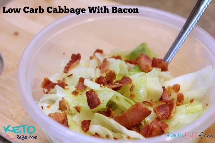 Keto Cabbage With Bacon Lunch Recipe- If you love cabbage this one's for you! Low carb delight, get your fat and your veggies with this quick and simple lunch recipe. Bacon and cabbage with coconut oil. | ketosizeme.com