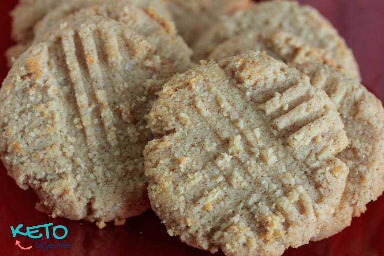 Keto Cinnamon butter cookies with fork imprints