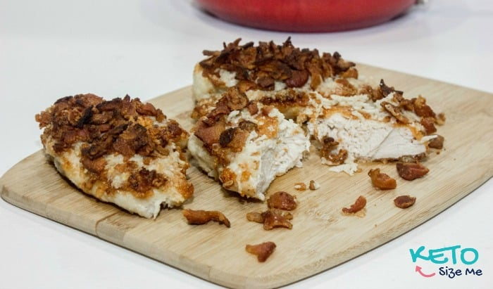 Looking for an easy Keto Fried Chicken Recipe? You have to try this! It's got a Asiago and Parmesan breading with bacon on top! It is fabulous! 0 Carbs