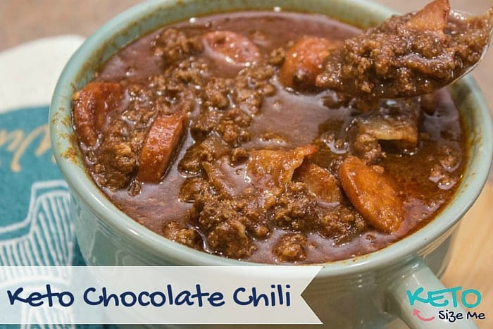 Keto Chocolate Chili in a mug with spoon