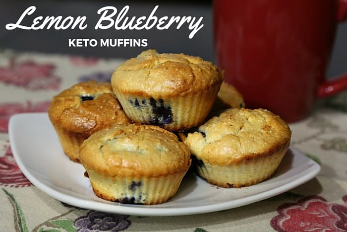 Keto Lemon Blueberry Muffins on a plate