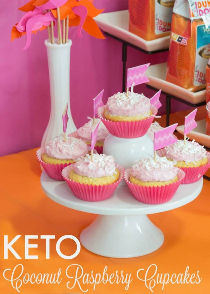 Keto Coconut Raspberry Cupcake on cake stand