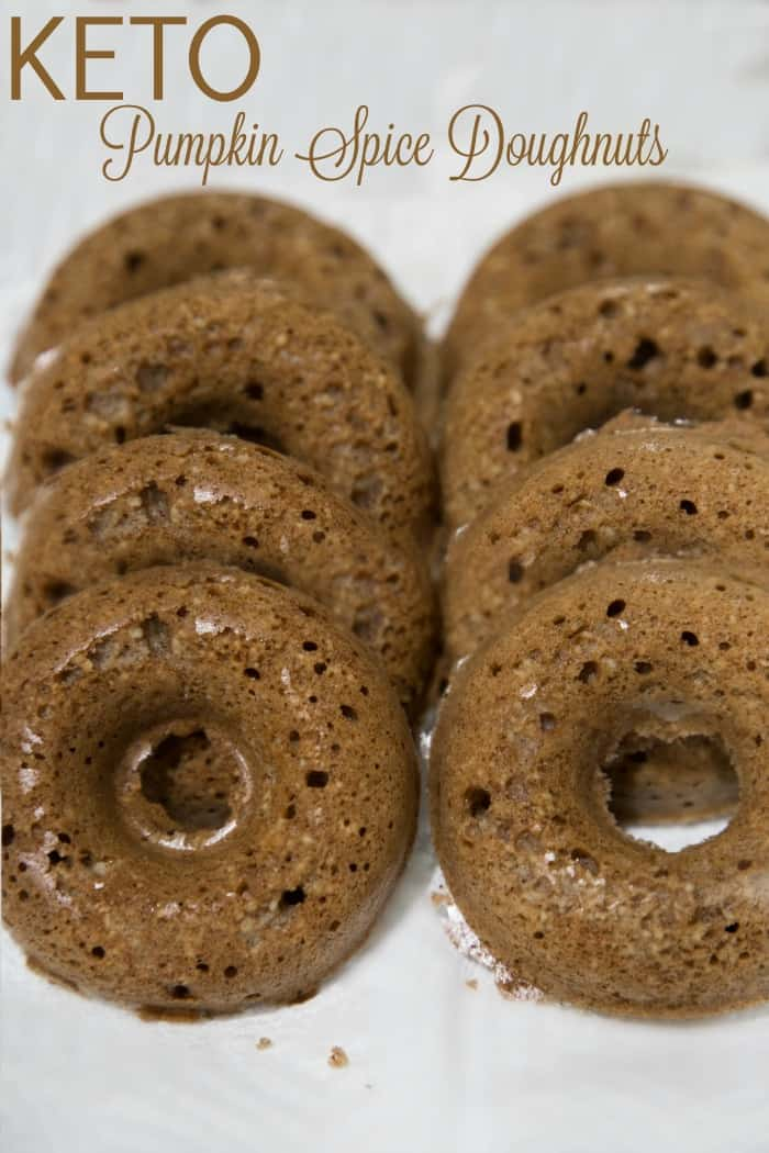 Delicious Keto Pumpkin Pie Spice Doughnuts that only take 12 minutes to bake.