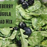 Text reads Blueberry Arugula Salad Mix