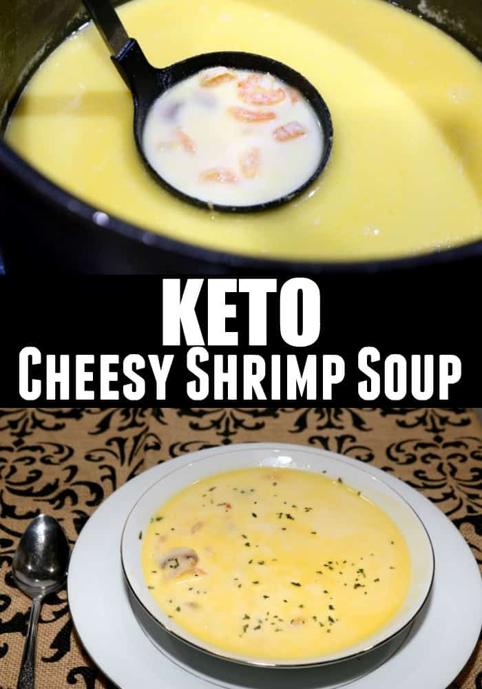 Keto Cheesy Shrimp Soup Recipe. This recipe is perfect for winter and your whole family will love it. Mushrooms, cheddar cheese, heavy cream, and broth. Feeling under the weather or suffering from the keto flu? Add this recipe to your menu today! | ketosizeme.com