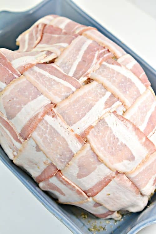 Keto Bacon Wrapped Turkey Breast Raw