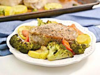 Keto Garlic Herb Pork Chop Sheet Pan